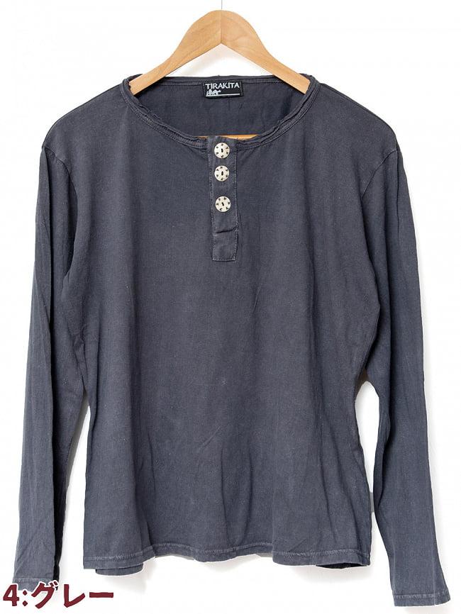 ストーンウォッシュのボタン付Tシャツ 14 - 4:グレー
