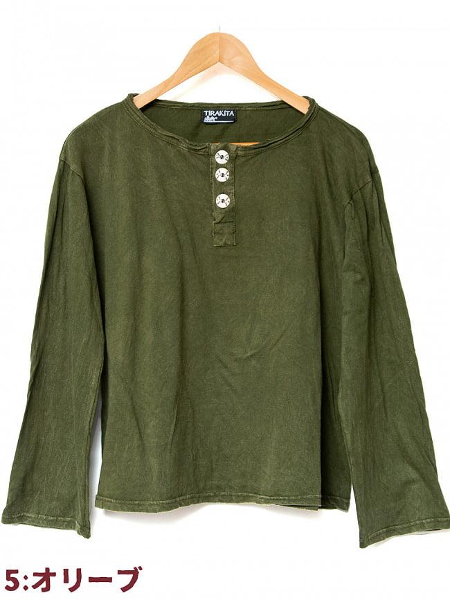 ストーンウォッシュのボタン付Tシャツ 15 - 5:オリーブ