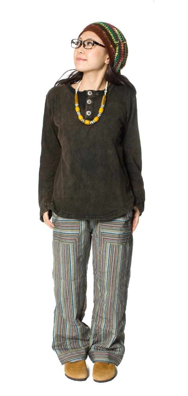 ストーンウォッシュのボタン付ロングTシャツ 3 - C:ブラウン^セットで購入:NP-SIRT-739*C:ブラウン,NP-HMPHAT-175,NP-PANTS-437^
