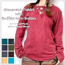 [日替わりセール品]ストーンウォッシュのボタン付ロングTシャツ