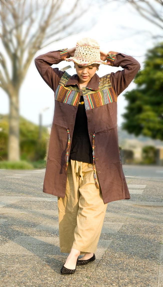 コットンゲリのシャツワンピースジャケットの写真4 - D:ブラウン