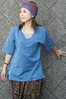 半袖シンプルコットンシャツ - ブルー