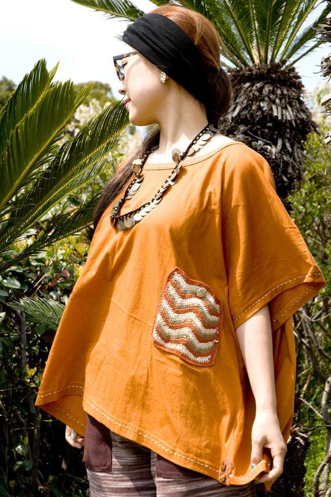 ニットポケットが可愛い!ゆったりTシャツ 2 - B:オレンジ