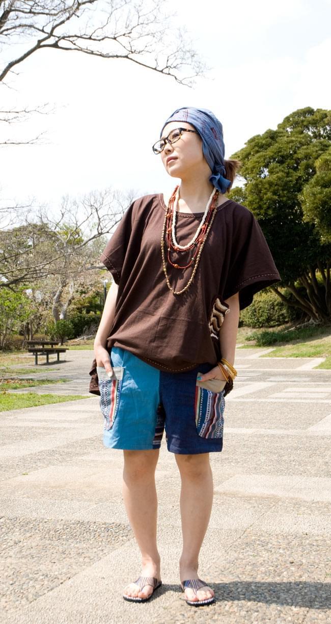 ニットポケットが可愛い!ゆったりTシャツ 3 - C:ブラウン