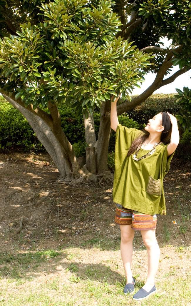 ニットポケットが可愛い!ゆったりTシャツ 5 - E:グリーン