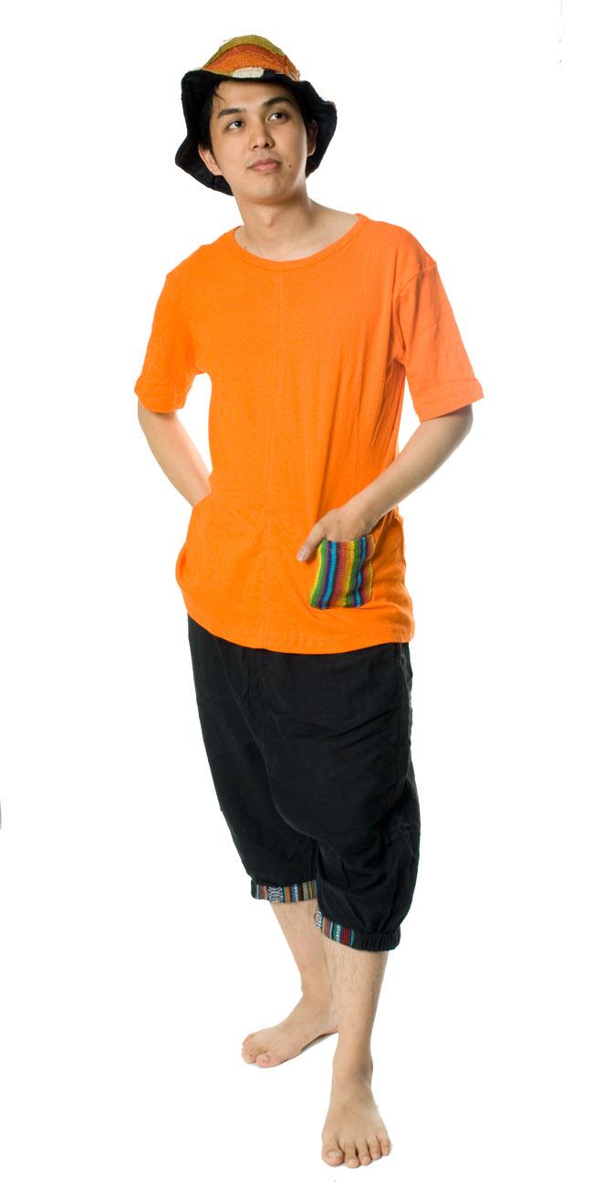 エスニック布のカラフルポケットTシャツ 2 - 【選択1】オレンジ(Mサイズ)170�のスタッフがMサイズを着てみました。