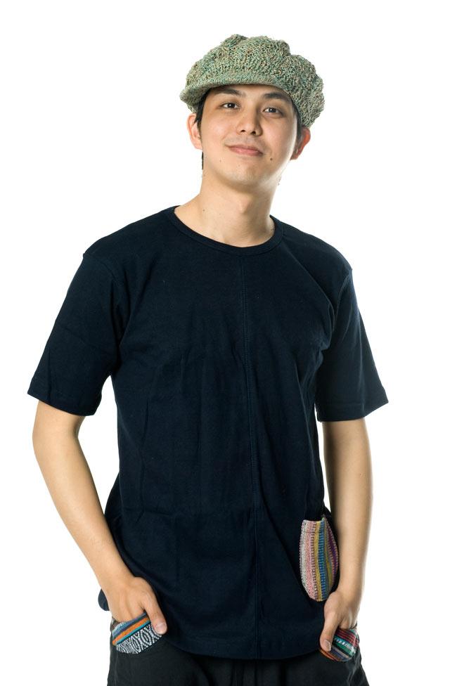 エスニック布のカラフルポケットTシャツ 4 - こちらはMサイズですが、ゆったり目に着たいならLサイズがおすすめです。