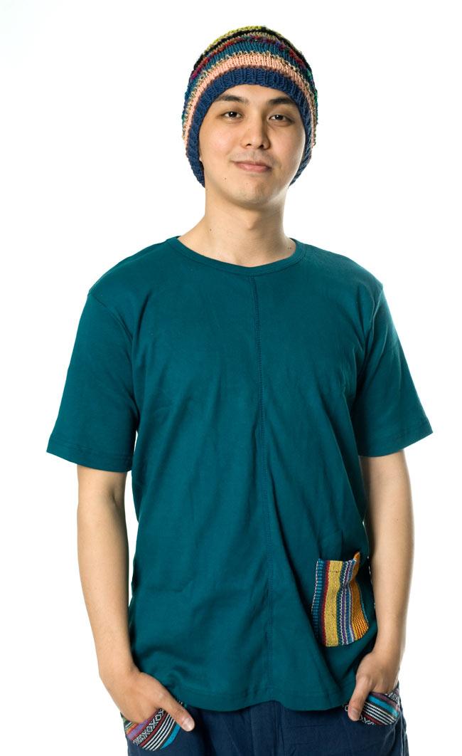 エスニック布のカラフルポケットTシャツ 5 - こちらはMサイズですが、ゆったり目に着たいならLサイズがおすすめです。