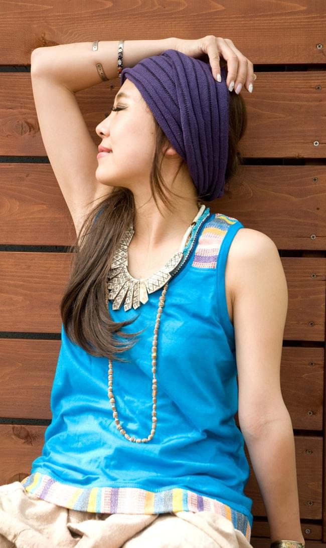 ネパールの手織り布がワンポイント!シンプルタンクトップの写真5 - E:ブルー