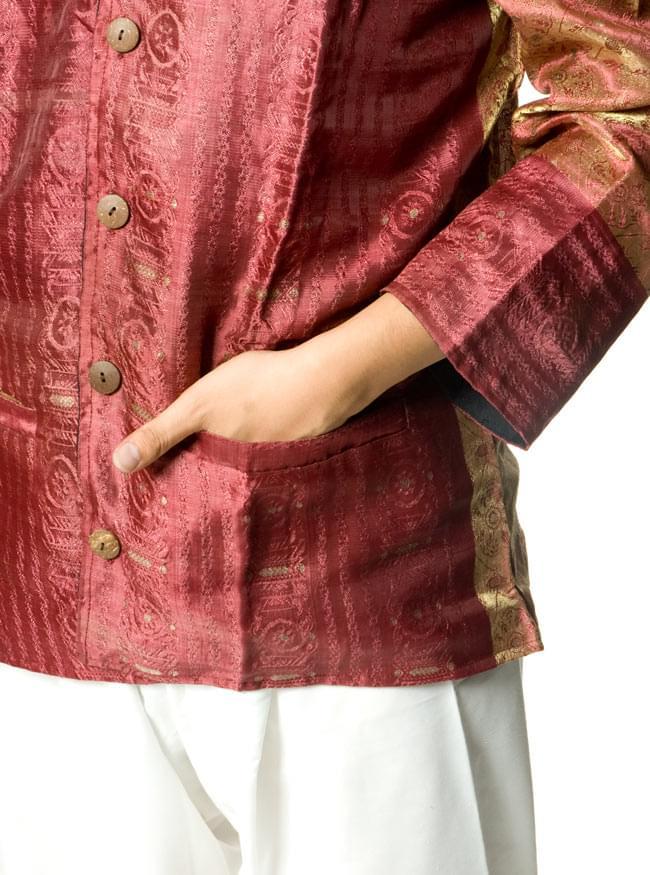 サリー刺繍 長袖クルタシャツ の写真5 - ポケットもあるので便利ですよ!