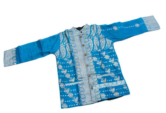 サリー刺繍 長袖クルタシャツ の写真8 - 広げるとこのようなデザインです。