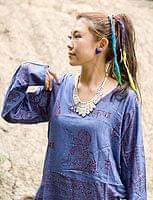 長袖Vネックラムナミシャツ - ブルーパープルの商品写真