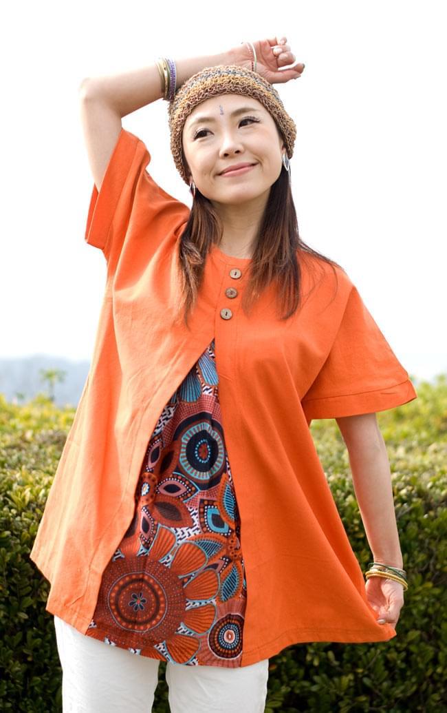 インディアンプリントの半袖スリットコットンクルタ 3 - 3:Mサイズ:オレンジ