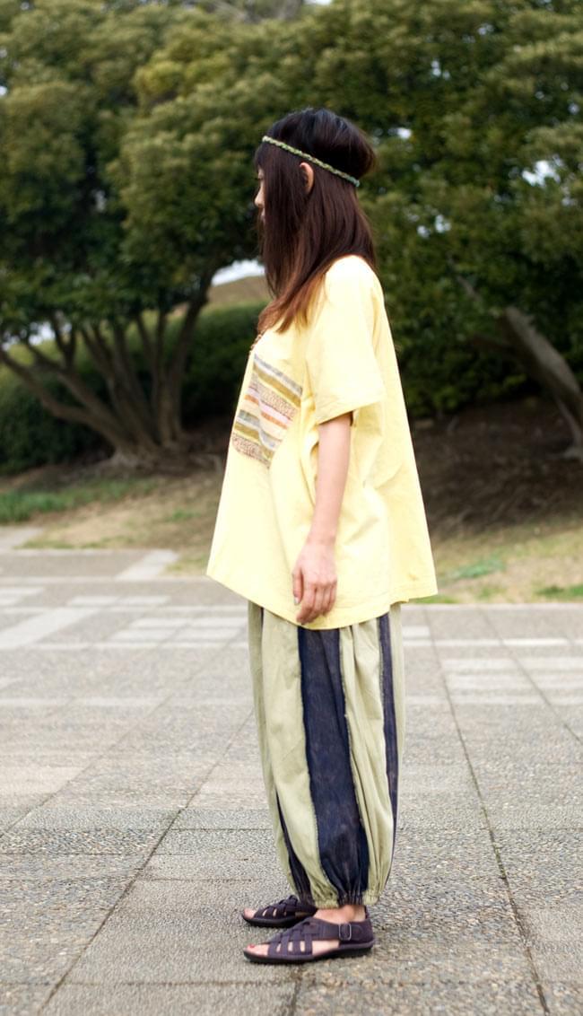 ストーンウォッシュの半袖プルオーバーシャツ 【ライトイエロー】の写真3 - 横からの姿です。