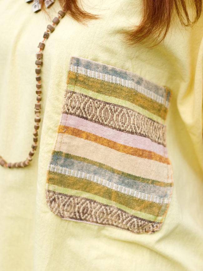 ストーンウォッシュの半袖プルオーバーシャツ 【ライトイエロー】の写真5 - ポケットはネパールのゲリコットンを使用しています。