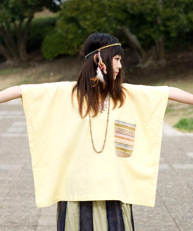 ストーンウォッシュの半袖プルオーバーシャツ 【ライトイエロー】の写真6 - こんな四角い形が個性的。ゆったり目なのでとても着やすいです。