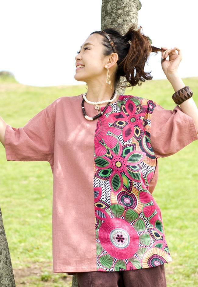 ハーフプリントの半袖コットンクルタ 5 - 5:ピンク