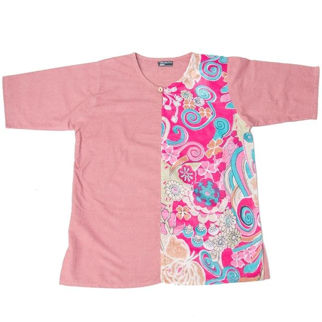 ハーフプリントの半袖コットンクルタ 6 - 6:ピンク