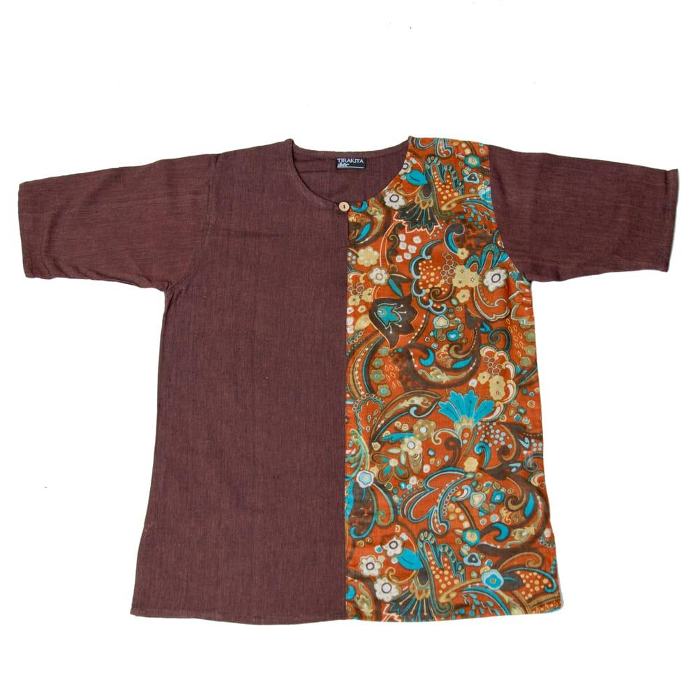 ハーフプリントの半袖コットンクルタ 8 - 8:ブラウン