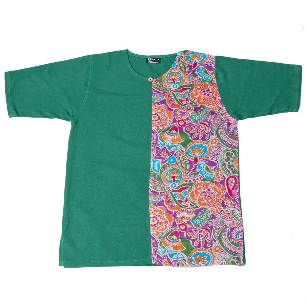 ハーフプリントの半袖コットンクルタ 9 - 9:グリーン
