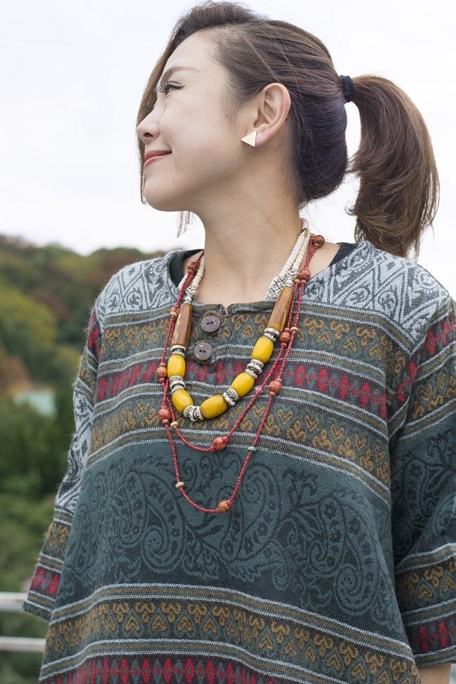 ダッカ織りのふわふわクルタシャツの写真10 - I:グリーン系ペイズリー