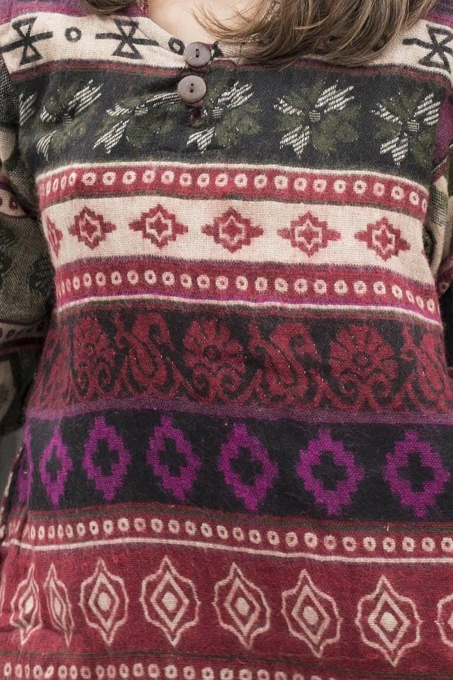 ダッカ織りのふわふわクルタシャツの写真6 - 秋口にピッタリです。