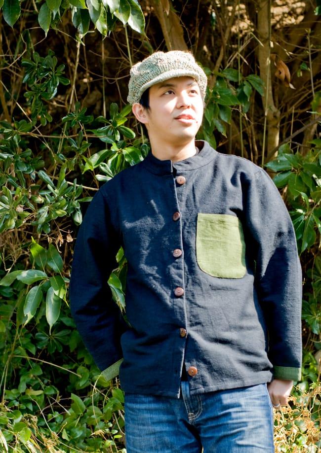 ナチュラルカラーのクルタシャツの写真4 - D:ブラック