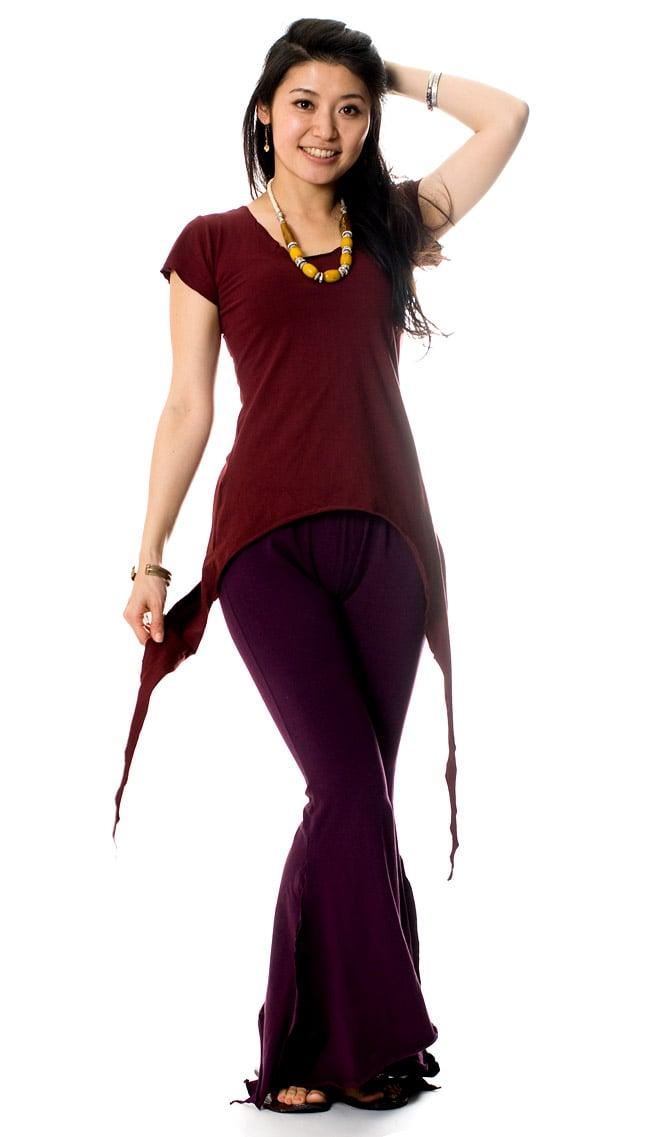 サイドロングストレッチTシャツの写真5 - E:ダークレッド