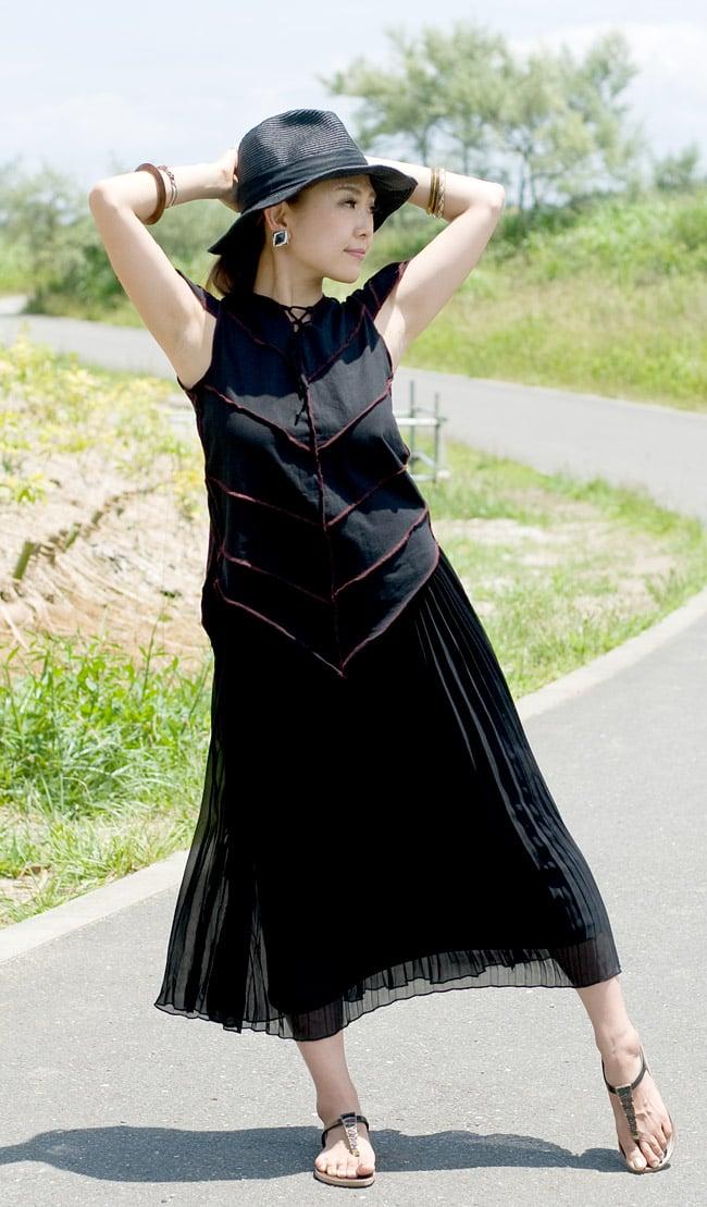 ピクシーフードのライクラトップスの写真3 - C:ブラック
