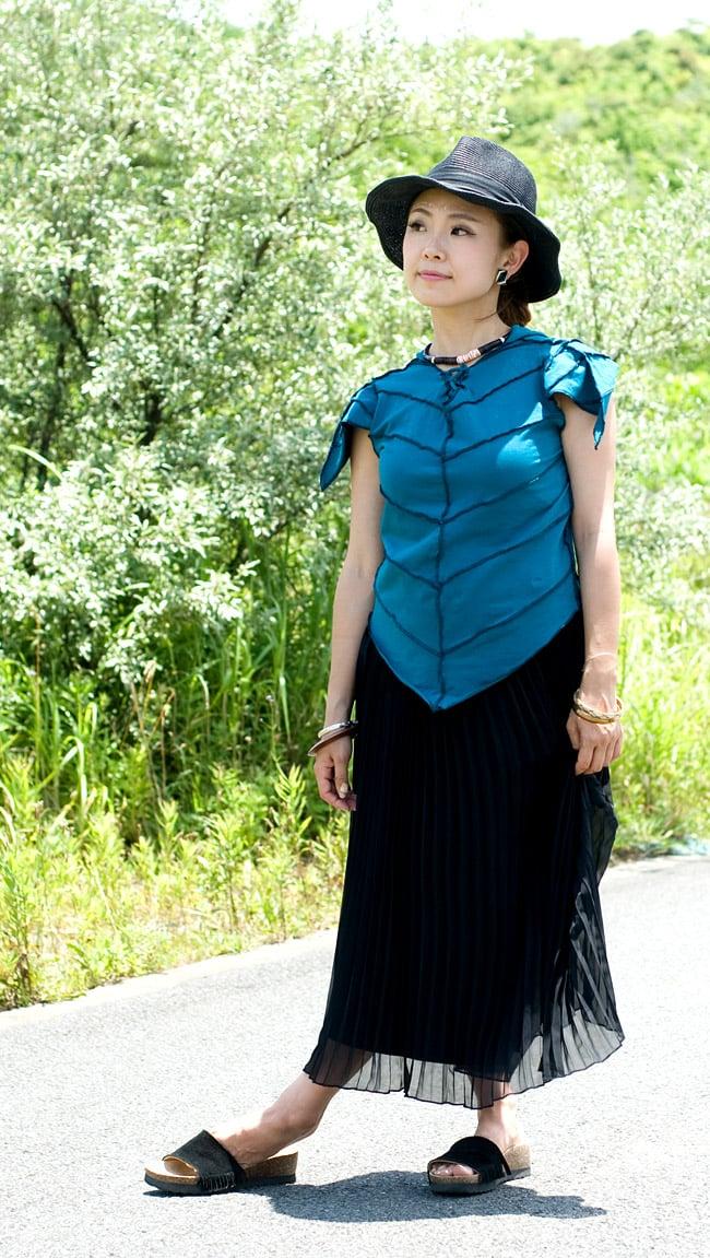 ピクシーフードのライクラトップスの写真6 - F:ブルー