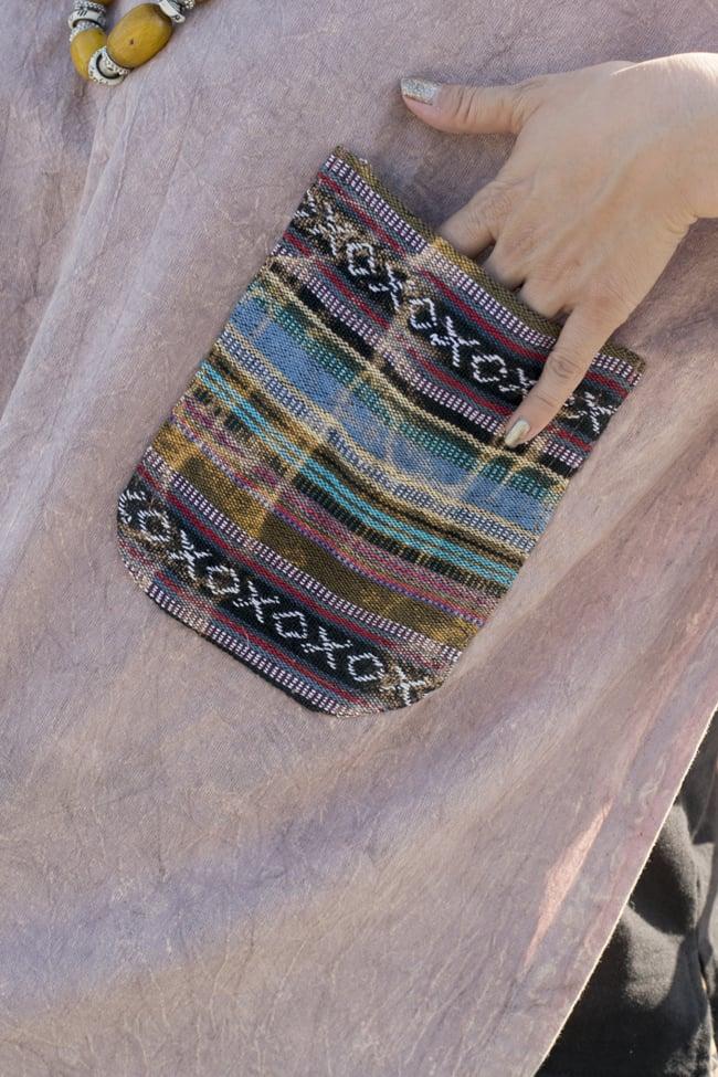 ストーンウォッシュの半袖プルオーバーシャツ 【ピンクベージュ】 2 - ポケットはネパールのゲリコットンを使用しています。