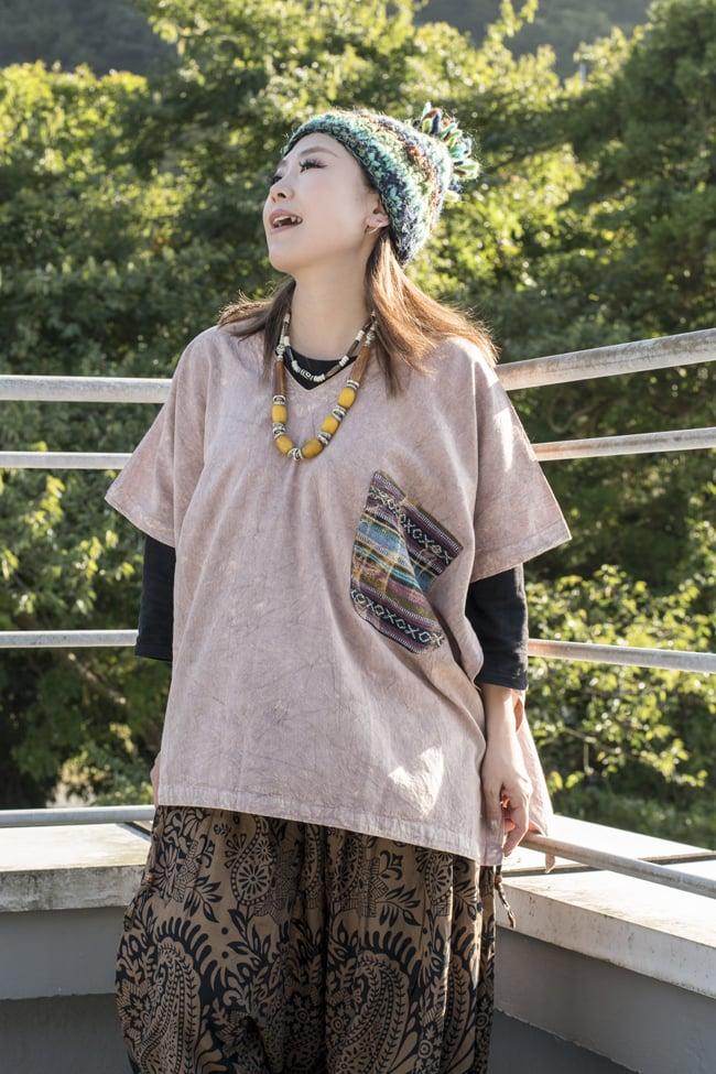 ストーンウォッシュの半袖プルオーバーシャツ 【ピンクベージュ】の写真