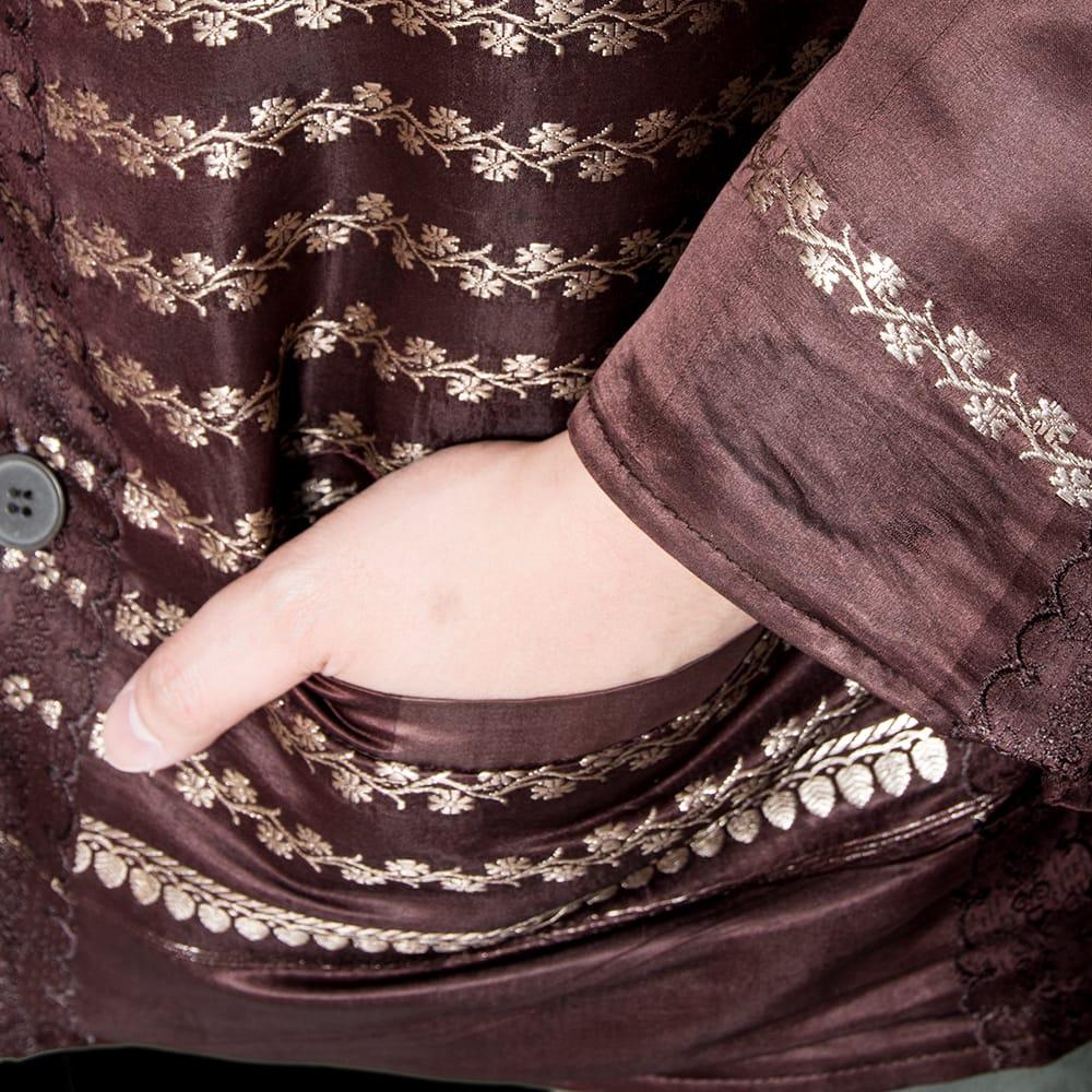 【1点もの】サリー刺繍 長袖クルタシャツ  8 - ポケット付きです。