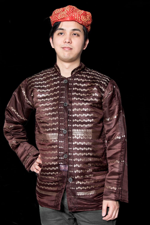 【1点もの】サリー刺繍 長袖クルタシャツ  9 - これを着ればあなたもインド人に!
