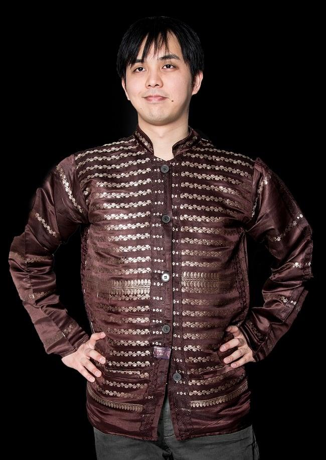 【1点もの】サリー刺繍 長袖クルタシャツ の写真
