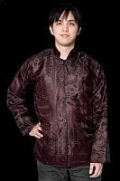 【1点もの】サリー刺繍 長袖クルタシャツ