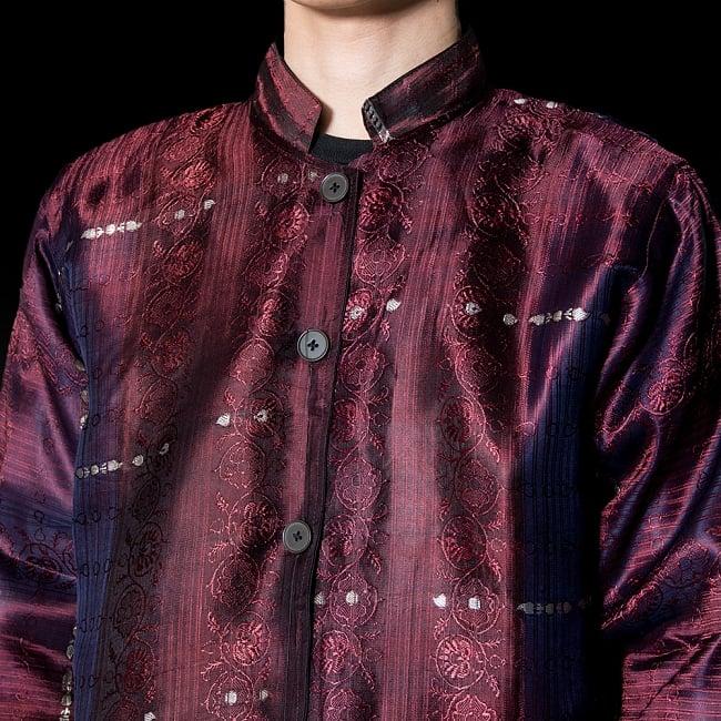 【1点もの】サリー刺繍 長袖クルタシャツ  5 - 胸元を見てみました。