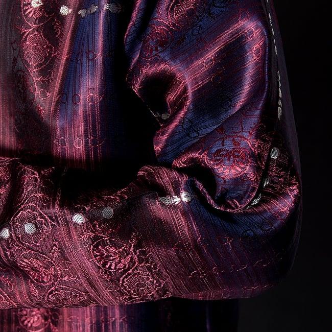 【1点もの】サリー刺繍 長袖クルタシャツ  8 - 陰影の映える生地です。