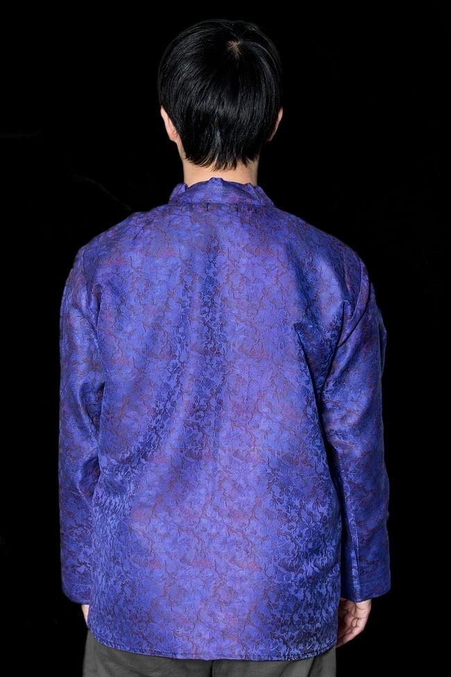 【1点もの】サリー刺繍 長袖クルタシャツ  3 - 背中側の様子です。