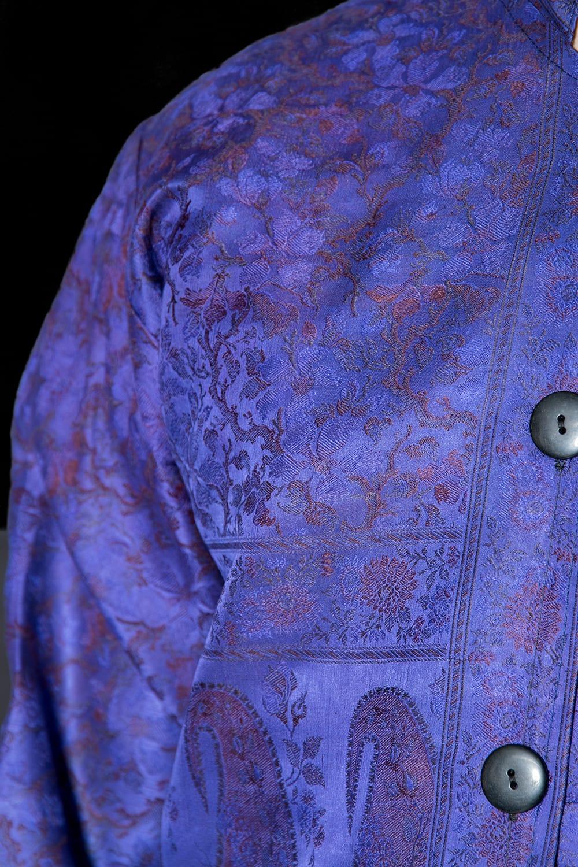 【1点もの】サリー刺繍 長袖クルタシャツ  6 - 光沢感のある生地です