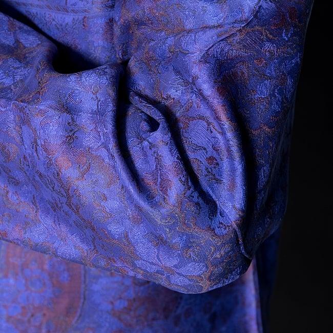 【1点もの】サリー刺繍 長袖クルタシャツ  7 - 陰影の映える生地です。