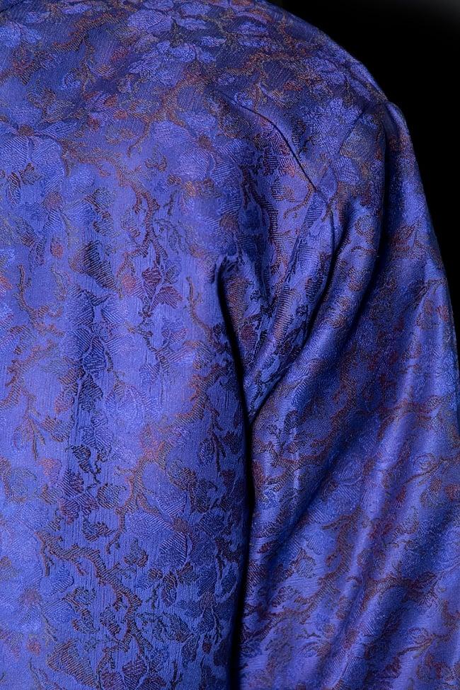 【1点もの】サリー刺繍 長袖クルタシャツ  5 - 光沢感のある生地です