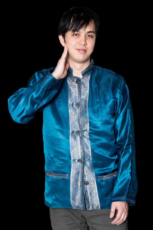 【1点もの】サリー刺繍 長袖クルタシャツ  2 - 光沢感のあるカッコいいクルタシャツです。