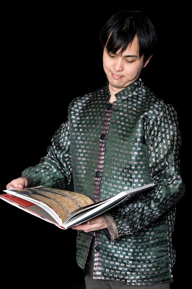 【1点もの】サリー刺繍 長袖クルタシャツ  10 - これであなたもインド人に!
