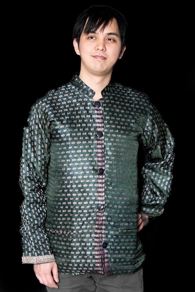 【1点もの】サリー刺繍 長袖クルタシャツ  2 - 光沢感のあるカッコいい生地です。