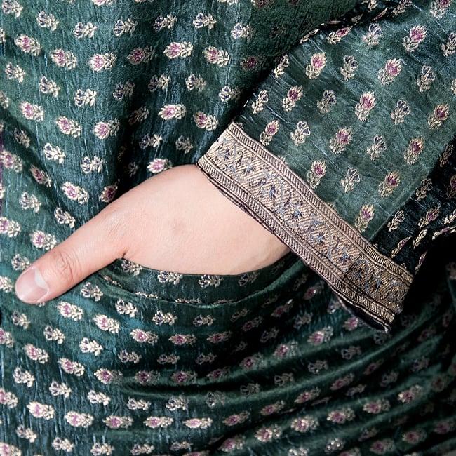 【1点もの】サリー刺繍 長袖クルタシャツ  9 - ポケット付きです。