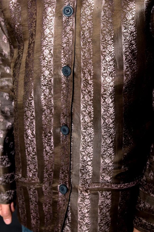 【1点もの】サリー刺繍 長袖クルタシャツ  5 - お腹周りを見てみました。