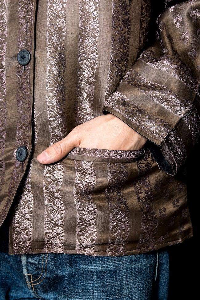 【1点もの】サリー刺繍 長袖クルタシャツ  8 - ポケット付きです