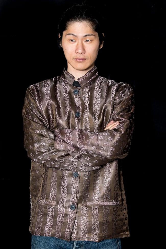 【1点もの】サリー刺繍 長袖クルタシャツ  1
