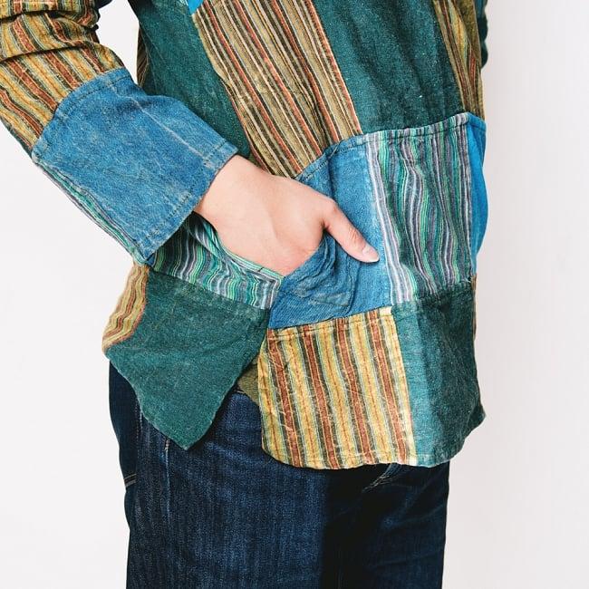 パッチワーク クルタシャツ ストーンウォッシュの深みある風合い 11 - 右側にさり気なくポケット付き